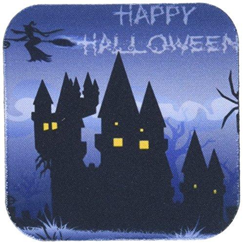 3dRose CST 153155_ 1A Blau Haunted Halloween Haus mit EIN Fliegender Hexe und die Worte Happy Halloween-Soft Untersetzer, 4Stück