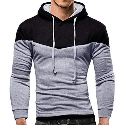 FeiBeauty 2018 Männer langärmelige Männer Herbst und Winter langärmelige Patchwork-Fleece-Kapuzen-Sweatshirt Jacke Kapuzen-Shirt Persönlichkeit langärmeligen T-Shirt farblich passenden Pullover Mantel