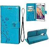 Teebo Hülle für HTC ONE X10 Schutzhülle aus PU Leder Handyhülle mit geprägtem Schmetterling-Muster Kartenfach und Magnetverschluss Blau
