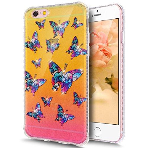 Coque iPhone 6 Plus, Coque iPhone 6S Plus, Étui iPhone 6S Plus, iPhone 6 Plus/iPhone 6S Plus Case, ikasus® iPhone 6 Plus/iPhone 6S Plus Couleur peinte avec Diamant brillant briller intérieur strass Co Papillon coloré