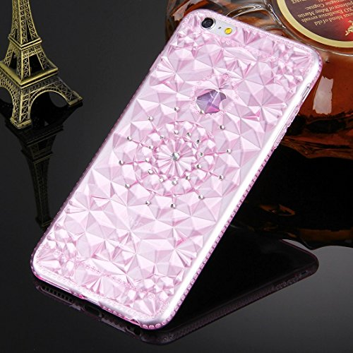 YAN Pour iPhone 6 / 6s, Diamond Encrusted Soft TPU Protective Case Back Cover ( Color : Pink ) Magenta