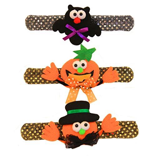 YYRZGW Halloween Spielzeug Beleuchtete Licht Armbänder Party, 3 STÜCKE Schlag Armbänder, Smiley Kürbis Fledermäuse Hut Kürbis Party Schule Preis für Kinder Jungen Mädchen Erwachsene-3Stck -