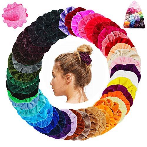 Scrunchies 45 Stück Haargummis Samt 45 Farben Haar Gummibänder Haarbänder Elastische für Damen und Mädchen Haarschmuck