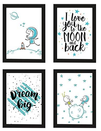 PICSonPAPER Kinder Poster 4er-Set Astronaut, gerahmt DIN A4, Dekoration fürs Kinderzimmer, Kinderposter, Poster mit Rahmen, Kunstdruck, Wandbild, Geschenk (Mit IKEA FISKBO schwarz)