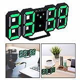 OFKPO 3D Despertador Digital,Puede Ajustar Automáticamente el Brillo de LED (Negro,Verde)