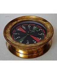 U.S. Navy Marine RADIO ROOM BRASS Wall Clock - – LARGE - BLACK Dial - Marine / Nautical / Boat / Maritime