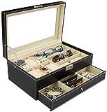 Joyero para almacenamiento y presentación - Negro aprox 33 x 20 x 13 cm - Joyero para joyas y relojes - Grinscard