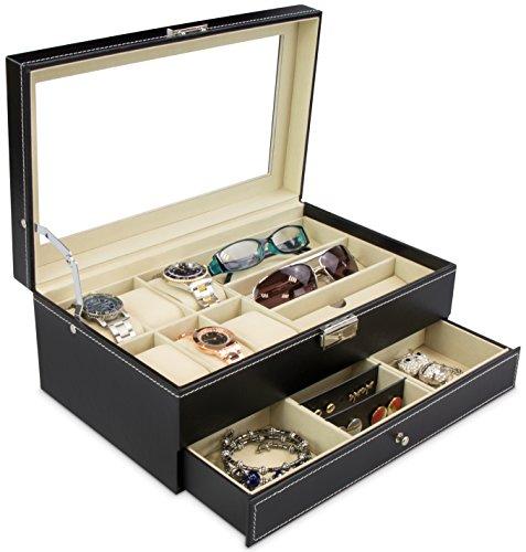 Schmuckkasten für Brillen & Uhren - Schwarz ca. 33 x 20 x 13 cm - Aufbewahrungskiste mit Glas Display zur Präsentation - Holz-uhr-schmuck-box