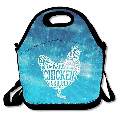 ZMvise Life Is Better With Chickens les sacs réutilisables pique - nique déjeuner tote isolés boîtes hommes femmes enfants toddler infirmières sac de voyage