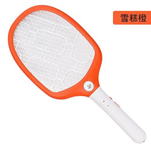 LLZMWD Patita Para Mosquitos Eléctrica/Grande/De Red/Recargable/Del Hogar/Lámpara Led/Antimosquitos/Batería/Swatter/Patita Para Mosquitos Eléctrica, G Orange