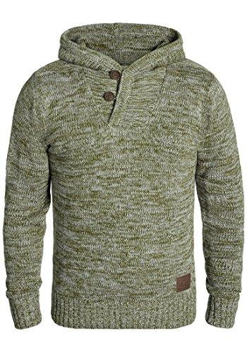 !Solid Praktik Herren Winter Pullover Strickpullover Kapuzenpullover Grobstrick Pullover mit Kapuze und Cross-Over-Kragen, Größe:XL, Farbe:Ivy Green (3797) -