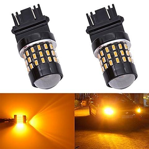 Katur 2pcs Super Bright 3157304730573057A 31553157A 30563156301454smd objectif LED les ampoules de rechange de frein de signal Tail Back Up Stop Parking RV lumières Ambre