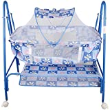 Baby Grow Cradle With Swing, Mosquito Net And Storage Basket (Blue_208)