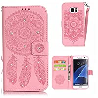 Galaxy S7 Edge Case, KKEIKO® Galaxy S7 Edge Wallet Case, Flip Leather Case and Cover with Bling Rhinestone, Book Style Bumper Cover Case for Samsung Galaxy S7 Edge with Free Tempered Glass Screen Protector (Pink)