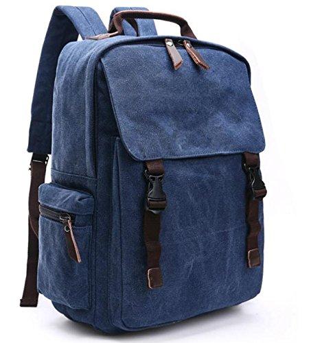 &ZHOU Borsa di tela, Viaggi di piacere retrò di grande capacità tela borsa a tracolla zaino, borse di moda per il tempo libero, borse computer, borse per uomini e donne , black deep blue