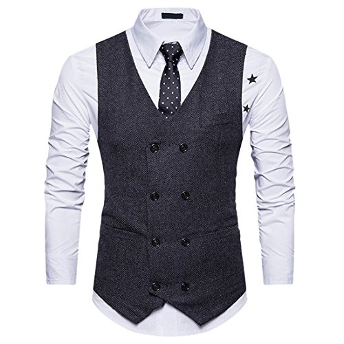 Herren Anzug Weste Vier Zweireiher Revers Fit Business-Kleid Weste (Button-down-tuxedo)
