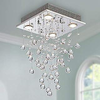 Modern Crystal Raindrop Chandelier Lighting Flush Mount LED Ceiling Light Fixture Pendant Lamp for Dining Room Bathroom Bedroom Livingroom 4 GU10 LED Bulbs Required Diameter 30 cm Height 50 cm