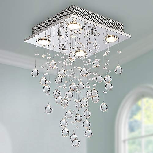 Cristal moderne gouttes de pluie gouttelettes d'éclairage encastré montage LED plafonnier luminaire suspension pour salle à manger salle de bains chambre à coucher salon 4 ampoules GU10 LED requis