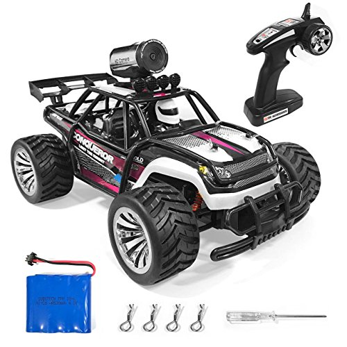 MaxTronic RC Cars Rock Offroad Racing Fahrzeug Crawler Truck 2,4 Ghz 4WD High Speed 1:16 Radio Fernbedienung Buggy Elektro mit HD Kamera 720P WiFi Fernbedienung von iPhone, iPad, Android