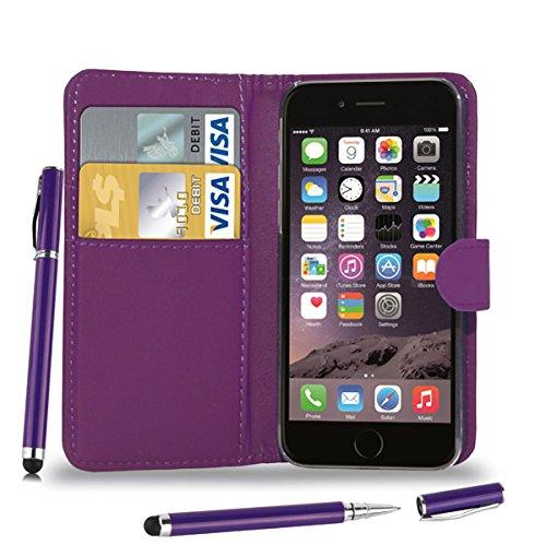Apple iPhone 6 Plus - Leder Brieftasche Tasche Buch + 2 in 1 Stylus Pen + Screen Protector & Poliertuch ( Red ) Dark Purple