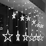 Luci della stringa tenda LED, SUAVER Impermeabili 2.5m 138LEDs Stringa Luce,Batteria 12 Stelle Luci Natale Interno/Esterno Tenda Luminosa per Camera da letto,Giardino,Festa,Matrimonio,Bagno