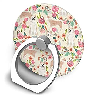 beautiful& Akita Floral Dogs And Florals Flowers Round 360 Degree Rotating Ring Stand Grip Mounts Phone Holder for Any Smartphones iPhone Or Tablets