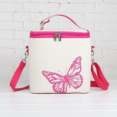 """Mini Kühltasche """"Pink-Butterfly"""" Kühlbox Lunch Tasche Picknick-Tasche Beach Bag Lunch Box Isoliertasche von der Marke PRECORN"""
