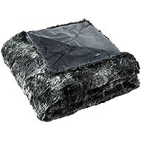 LANGRIA Manta de Pelo Piel Sintética Deluxe Súper Suave Cálida Ligera Respirable Lavable en Lavadora – Manta Decorativa de Lana Microfibra de Poliéster para Sofá Cama (150 x 200 cm, Negro)