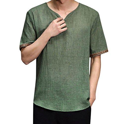 Grün M Und M Kostüm - TEELONG Herren Traditionell Leinen Hemden Lässig