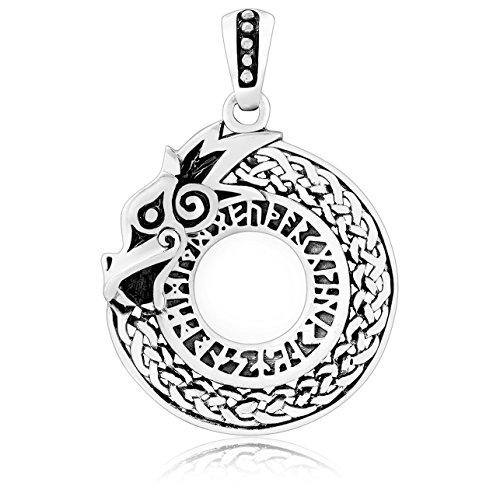 Schmuck Viking Keltischer (Viking Dragon Jormungand mit Futhark Runen Keltischer Stil Anhänger 925Sterling Silber)