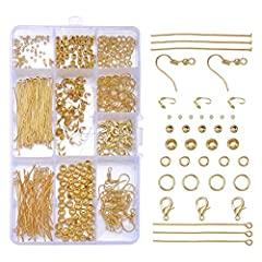 Idea Regalo - Anelli di giunzione aperti, chiusure a moschettone, chiodi a occhiello, ganci per orecchini, perline, perni a T. Accessori in lega, color oro Gold