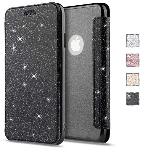 KOUYI iPhone 11 Hülle, Glitter Shine Bling Slim PU Leather Folio Flip Handyhülle with Card Slot Schutzhülle Tasche fürApple iPhone 11 6,1 Zoll(Schwarz)