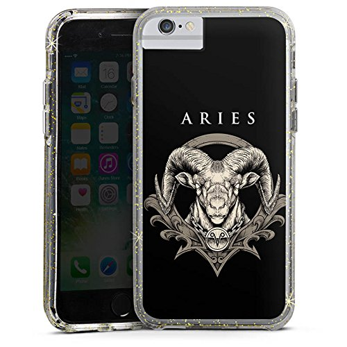 Apple iPhone 7 Bumper Hülle Bumper Case Glitzer Hülle Widder Sternzeichen Horoskop Bumper Case Glitzer gold