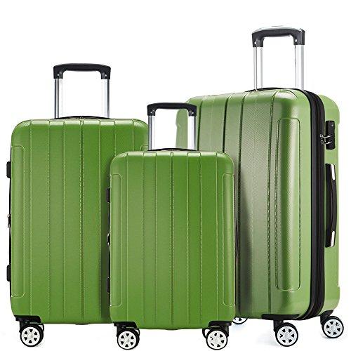 Fochier bagagli 3 pezzo fissato espandibile hard shell spinner valigia leggera(20