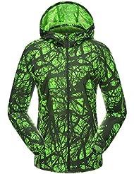 Beautiful Luv al aire libre velocidad secado Thin Piel impermeable Protector solar ropa Cool mujeres chaqueta cortavientos, color verde, tamaño XL