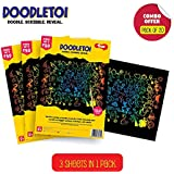 Toiing Doodletoi Return Gift Combo - 20 Packs of Magical Colourful Scratch Art Drawing Papers (1 Pack = 3 Sheets, Black)