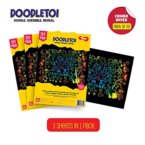 Toiing Doodletoi Return Gift Combo - 20 Packs of Magical Colourful Scratch Art Drawing Papers (1 Pack = 3 Sheets, Black) Colouring Books & Pads at amazon