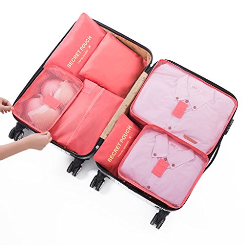 Travel Organiser,DoGeek Travel Essentials Bag 7pcs Packing Cubes for Travel Waterproof Polyester Storage luggage Travel Storage Bags Clothes Suitcase (Watermelon red)