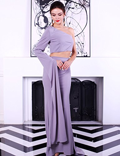 Missord - Robe - Cocktail - Manches Longues - Femme Gris