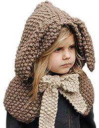 Enfants Casquette Manteau Tricot Capuche Cagoule Enfants Animal Chapeau  Hiver Bonnet avec Écharpe Automne Tricot Chapeau Chaud bébé… 78794f3f967