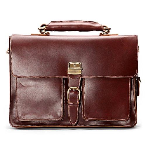 Leathario Herren Ledertasche Vintage Aktentasche Arbeitstasche Unitasche Collegetasche Umhängetasche Dokumententasche Lehrertasche Bürotasche Retro Messenger Bag, Dunkelbraun
