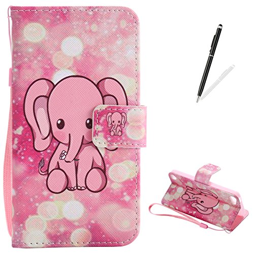 KaseHom for iPod Touch 5/6 Leder Hülle Premium Folio Magnetischer Flip Leder Brieftasche (Lustiger rosa Elefant) Muster Entwurf Stoßstange Schützend Haut Abdeckung Halfter - Touch Gel-tier-ipod Abdeckungen 5