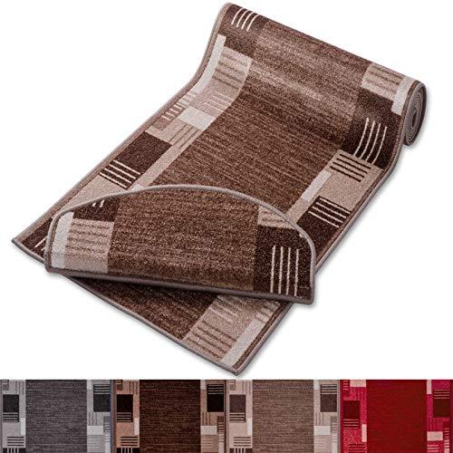 casa pura Stufenmatten mit Zeitloser Musterung | beige | Qualitätsprodukt aus Deutschland | GUT Siegel | kombinierbar mit Läufer | 65x23,5cm | halbrund | einzeln oder im Set (15er-Set) -
