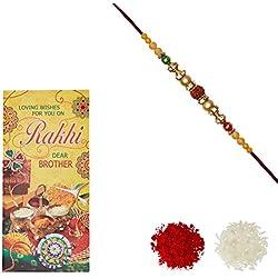 Aheli Rudraksha AD Ring Rakhi for Men with Greeting Card and Roli Chawal Tilak (Gold) (RCC07)