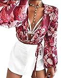Longwu Frauen Sexy Wrap Brust Tiefem V-Ausschnitt Langarm Chiffon Front Tie Crop Top Kurze Blusen Shirts Rot-S
