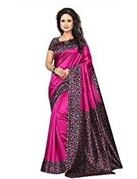 Ishin Poly Silk/ Blended Mysore Silk Purple Kalamkari Printed Women's Saree/Sari