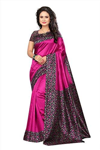 Mrinalika Fashion Women\'s Art Silk Saree With Blouse (sarees below 500 rupees SRJK044_Pink_Free Size)