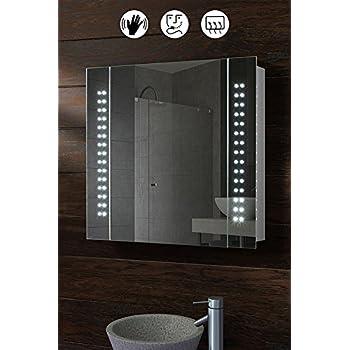 Spiegelschrank 50x70cm LED Badezimmerspiegel Badschrank mit Beleuchtung Sensor