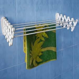 étendoir gain de place, escamotable en accordéon, mural, déplacable, capacité d'étendage 4m50