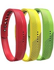 WEINISITE Pulsera de silicona Banda de Reemplazo Correa para Fitbit Flex 2 (Set 7, S)